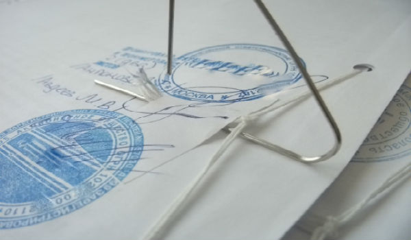 Как сшить документ нитками?